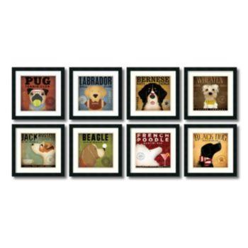 ''Dogs'' 8-Piece Framed Print Art Set by Stephen Fowler