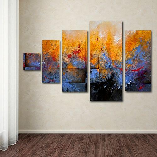 aerial city watercolor 5 piece canvas wall art set. Black Bedroom Furniture Sets. Home Design Ideas