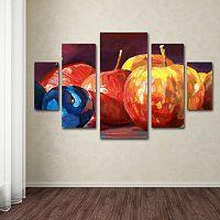 Ripe Plums & Apples 5 pc Canvas Wall Art Set