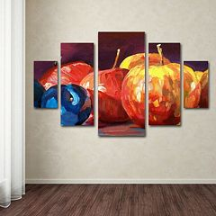 Ripe Plums & Apples 5-piece Canvas Wall Art Set