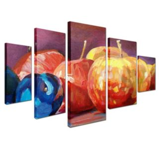 Ripe Plums and Apples 5-piece Canvas Wall Art Set