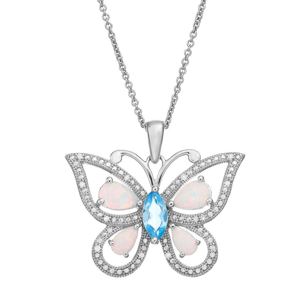 Gemstone Sterling Silver Openwork Butterfly Pendant Necklace
