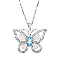 Gemstone Sterling Silver Openwork Butterfly Pendant Necklace