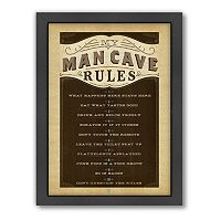Americanflat Anderson Design Group ''Man Cave Rules'' Framed Wall Art