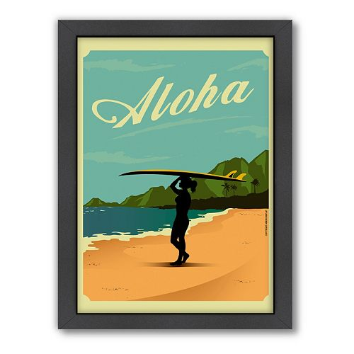 Americanflat ''Aloha'' Surf Framed Wall Art