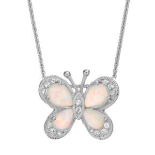 Lab-Created Opal & Lab-Created White Sapphire Sterling Silver Butterfly Pendant Necklace
