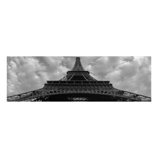 "12"" x 32"" ""Eiffel Panoramica"" Paris Canvas Wall Art"