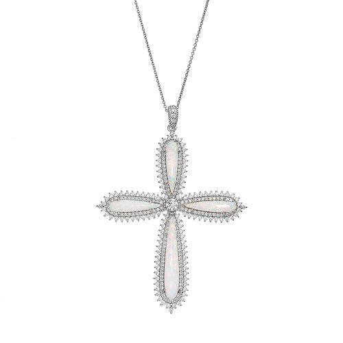 Lab-Created Opal & Cubic Zirconia Sterling Silver Cross Pendant Necklace
