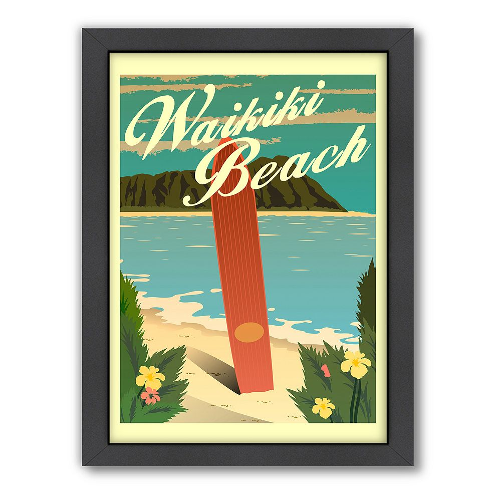 Americanflat ''Waikiki Beach'' Framed Wall Art