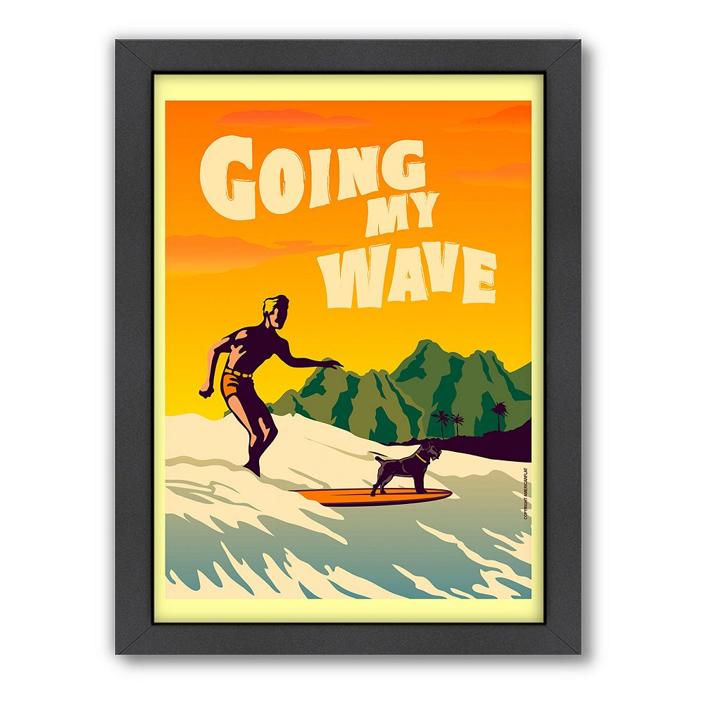 Americanflat \'\'Going My Wave\'\' Framed Wall Art