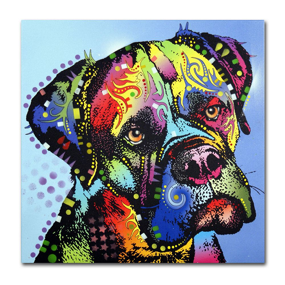 "14"" x 14"" ""Mastiff Warrior"" Dog Canvas Wall Art"