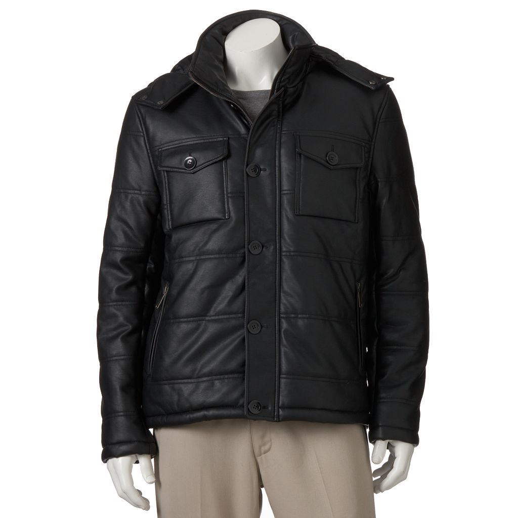Men's Excelled Faux-Leather Puffer Jacket