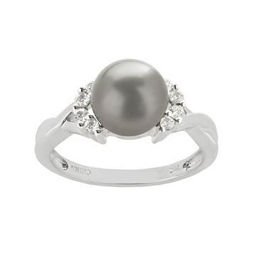 PearLustre by Imperial Tahitian Cultured Pearl & 1/6 carat T.W. Diamond 10k White Gold Crisscross Ring