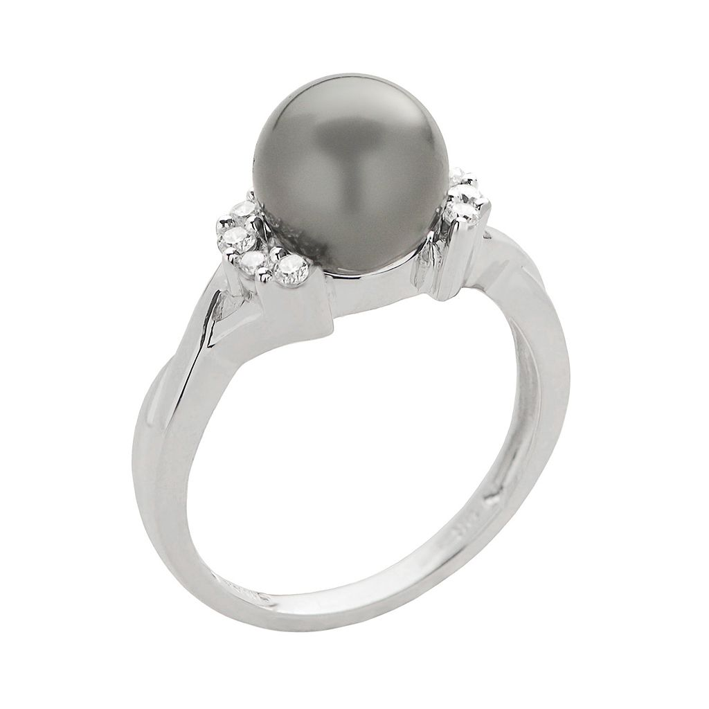 PearLustre by Imperial Tahitian Cultured Pearl and 1/6 carat T.W. Diamond 10k White Gold Crisscross Ring
