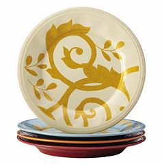 Rachael Ray Gold Scroll 4 pc Assorted Salad Plate Set