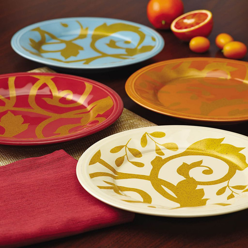 Rachael Ray Gold Scroll 4-pc. Assorted Salad Plate Set
