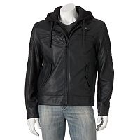 Excelled Hooded Faux-Leather Moto Jacket - Men
