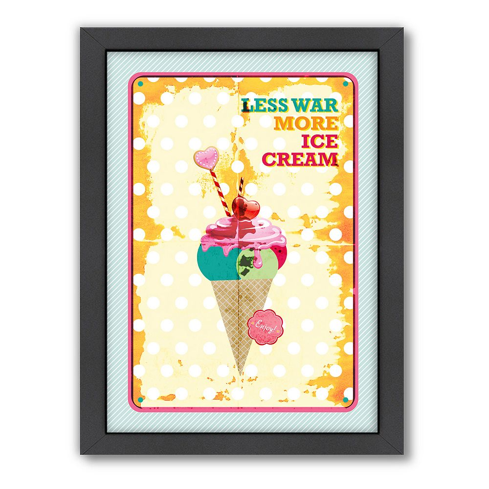 Americanflat Patricia Pino ''Less War More Ice Cream'' Framed Wall Art