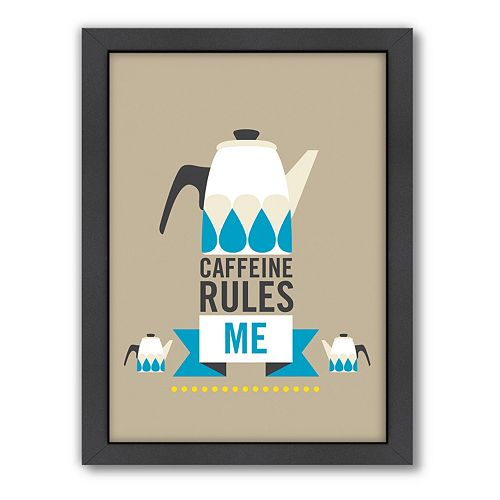 Americanflat Patricia Pino ''Caffeine Rules Me'' Framed Wall Art