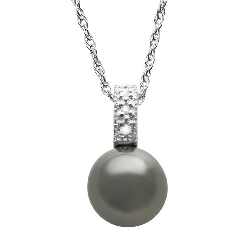 Tahitian Cultured Pearl & Diamond Accent Sterling Silver Pendant