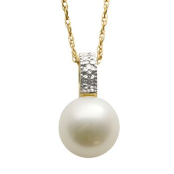Freshwater Cultured Pearl and Diamond Accent 14k Gold Over Silver Pendant