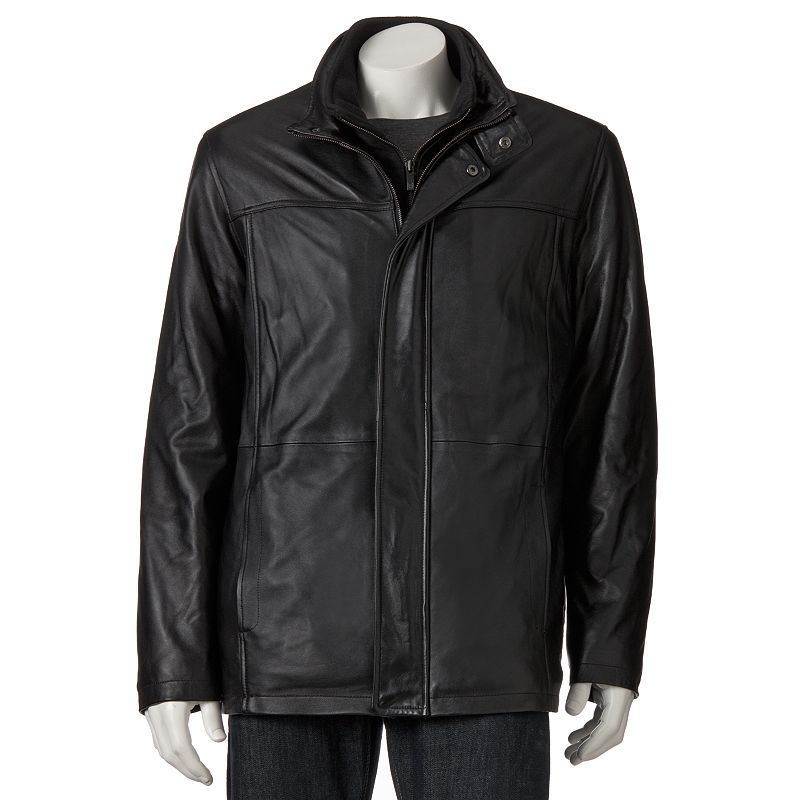Chaps Leather Car Coat - Men