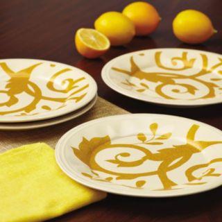 Rachael Ray Gold Scroll 4-pc. Salad Plate Set