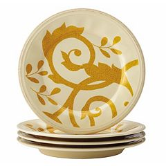 Rachael Ray Gold Scroll 4 pc Salad Plate Set
