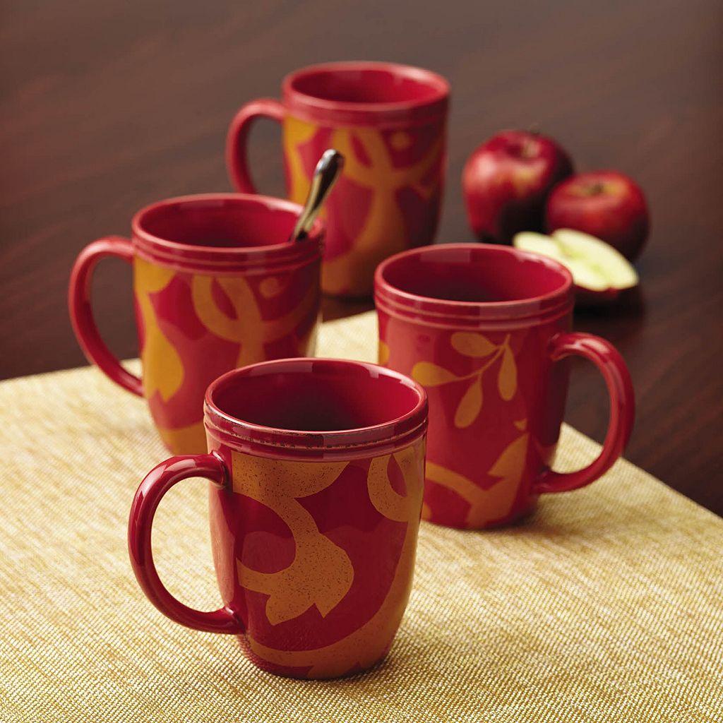 Rachael Ray Gold Scroll 4-pc. Mug Set