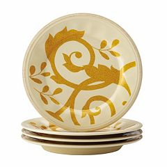 Rachael Ray Gold Scroll 4 pc Round Appetizer Plate Set