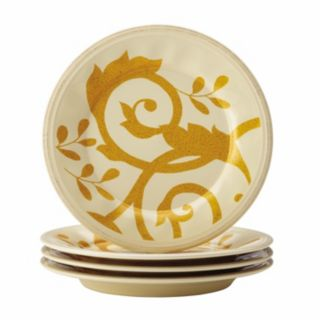 Rachael Ray Gold Scroll 4-pc. Round Appetizer Plate Set