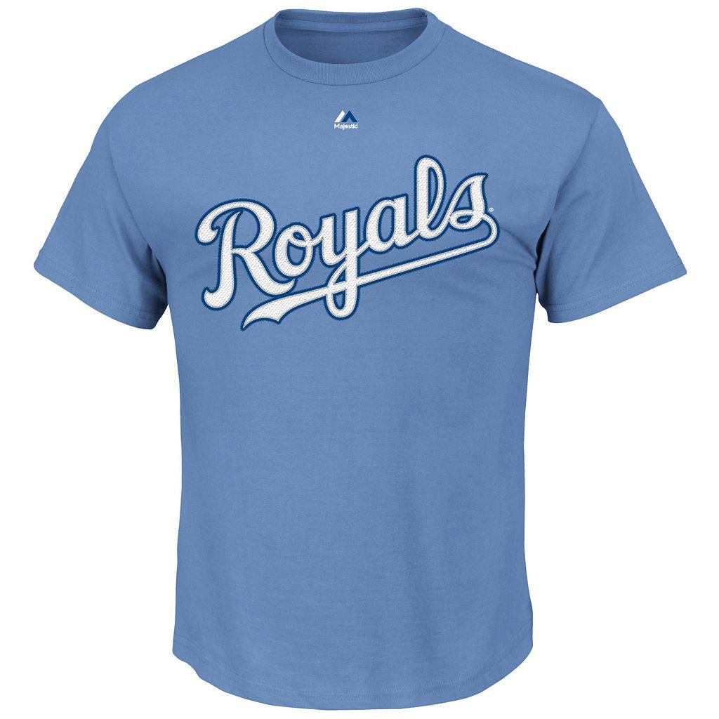 Men's Majestic Kansas City Royals Alex Gordon Player Name and Number Tee