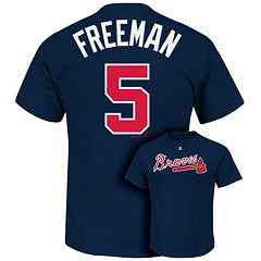 Men's Majestic Atlanta Braves Freddie Freeman Player Name and Number Tee