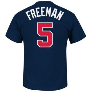 Men's Majestic Atlanta Braves Freddie Freeman Player Name and Number Tee