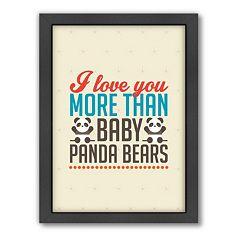 Americanflat Patricia Pino ''Love Pandas'' Framed Wall Art