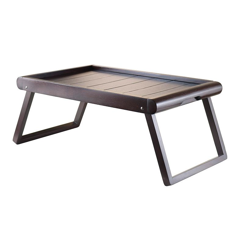 Winsome Elise Foldable Tray, Brown Serve breakfast in bed to that special someone with this Winsome Elise Tray. : Foldable U-leg design provides ample space. Dark espresso finish provides a neutral backdrop. : 9.25 H x 26.38 W x 13.62 D Wood Wipe clean Manufacturer's 60 day warrantyFor warranty information please click here Model no. 92223 Size: Furniture. Color: Brown. Gender: Unisex.