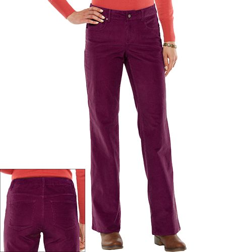 Luxury Marlow RED Womens Bootcut Jeans LOW Waist Corduroy Flare Pants SZ 25