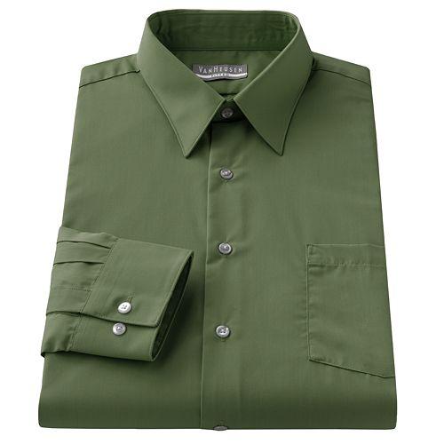 c33c19a755a Van Heusen Fitted Solid Poplin Point-Collar Dress Shirt