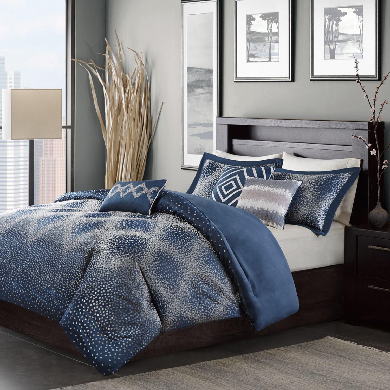 comforter set black navy gray