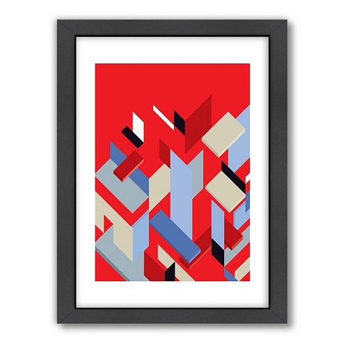 Americanflat Visual Philosophy ''Mies Pieces'' Red Geometric Framed Wall Art