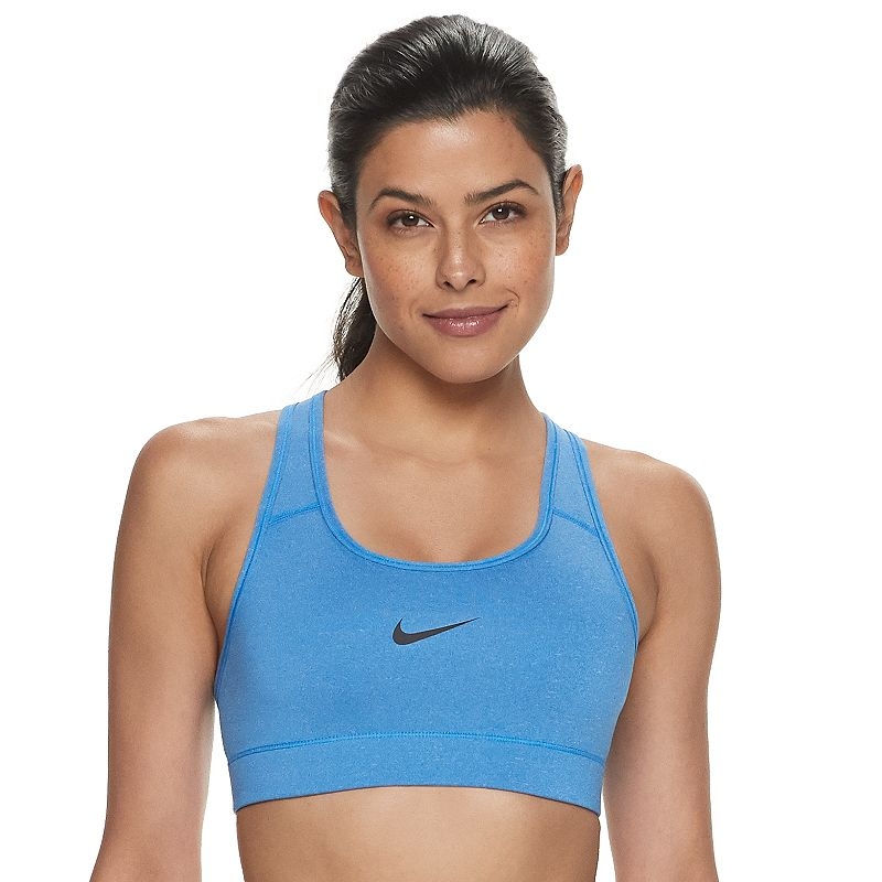 Nike Victory Compression Dri-FIT Medium-Impact Sports Bra 375833, Women's, Turquoise/Blue With a low profile and racerback design, this women's Nike Victory compression sports bra is a versatile, everyday favorite. From warm up to cool down, this women's Nike sports bra will be there to support you through your most intense workouts. How to Choose a Sports Bra Watch the product video here.NIKE Perfect for medium-impact exercises such as biking Nike Dri-FIT moisture-wicking technology keeps you cool and dry Low-profile bonded seams provide comfort during workouts Racerback sports bra offers great range of motion Wire-free sports bra provides comfortable support Style no. 375833 NIKE FIT & SIZING Compressive fit helps keep muscles warm NIKE FABRIC & CARE Polyester, spandex Machine wash Imported FREQUENTLY ASKED QUESTIONS How to wash Nike sports bra? This women's sports bra from Nike is machine washable for simple care and added convenience. How to wear Nike sports bra? This women's sports bra from Nike can be paired with almost any other athletic apparel. When choosing a sports bra, the band should fit snugly, but should not cause any pain. The shoulder straps should not dig into your skin or ever hurt. To be sure you?re choosing the right size for your body, review the Nike Size Chart below for detailed information on women's sports bra size measurements. What size women's Nike sports bra should I get? Check out the women's Nike Size Chart below for detailed information on size measurements. Where to buy women's sports bras from Nike? all women's sports bras from Nike. Color: Turq/Aqua. Gender: female. Age Group: adult. Pattern: Solid. Material: Poly Blend.