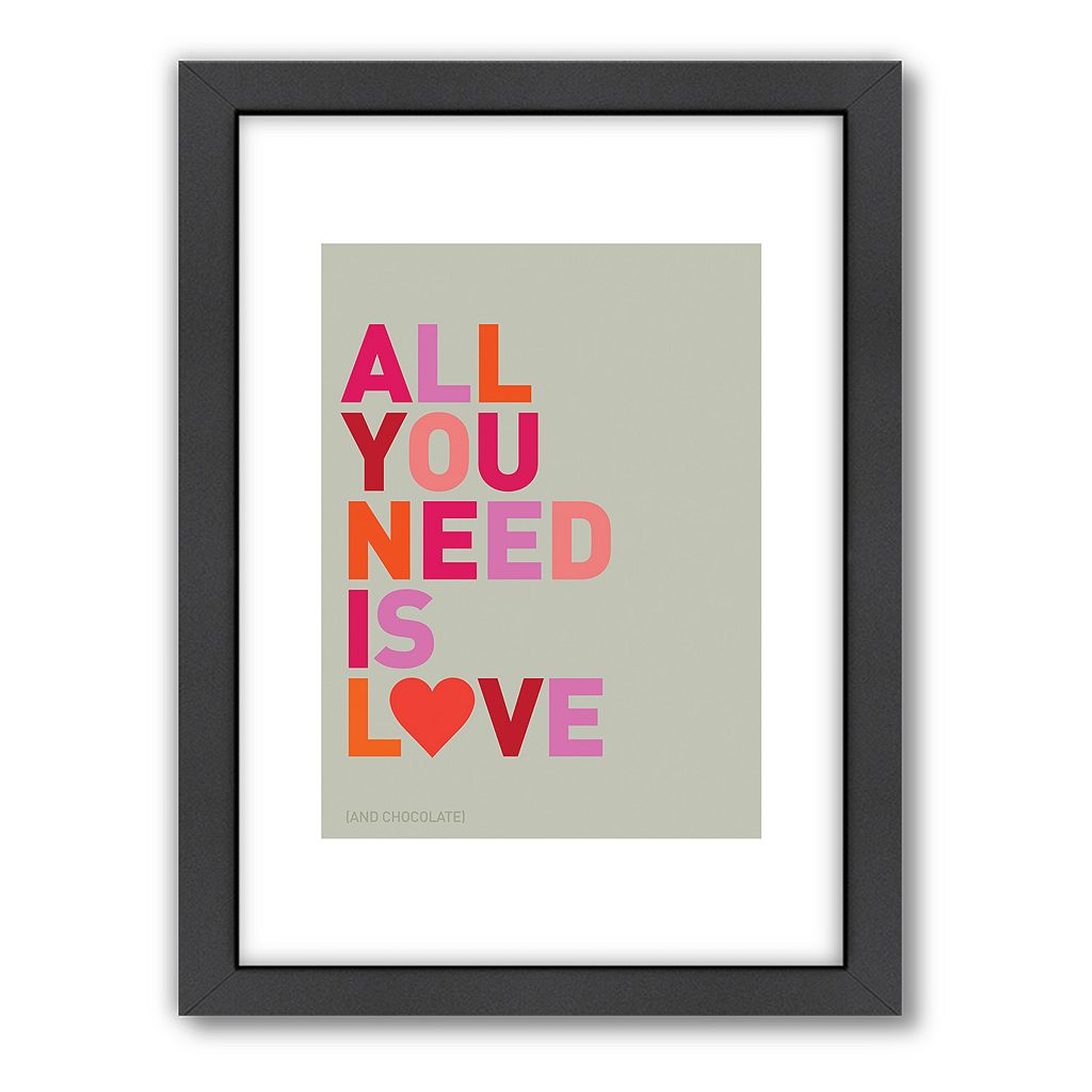Americanflat Visual Philosophy ''All You Need Is Love'' Framed Wall Art