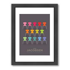 Americanflat Visual Philosophy Colorful Chairs Framed Wall Art