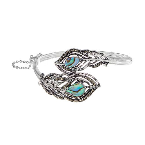 Abalone & Marcasite Silver-Plated Peacock Feather Bangle Bracelet