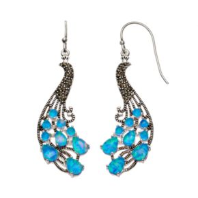 Simulated Opal & Marcasite Silver-Plated Peacock Drop Earrings