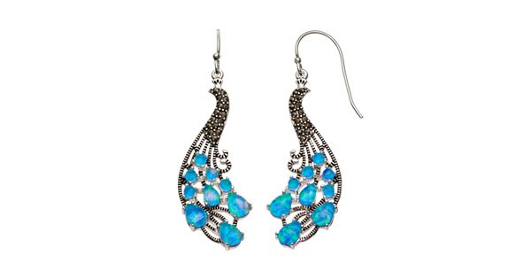 Simulated Opal Amp Marcasite Silver Plated Peacock Drop Earrings