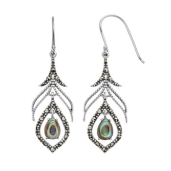 Abalone & Marcasite Sterling Silver Drop Earrings