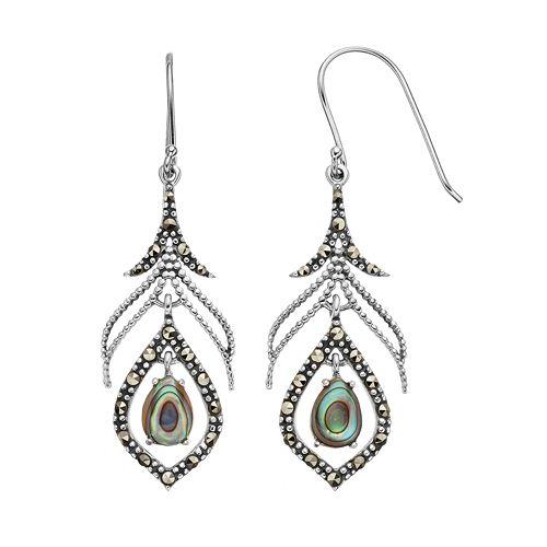 Abalone & Marcasite Sterling Silver Drop Earrings