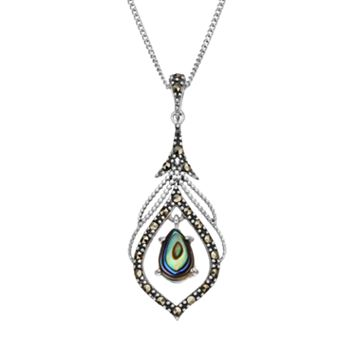 Tori Hill Abalone & Marcasite Sterling Silver Pendant Necklace