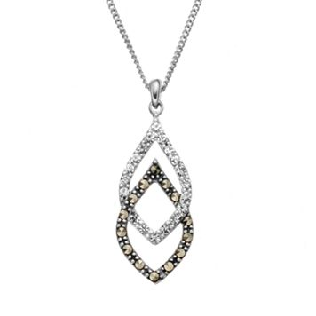 Tori Hill Marcasite & Crystal Sterling Silver Double Teardrop Pendant Necklace